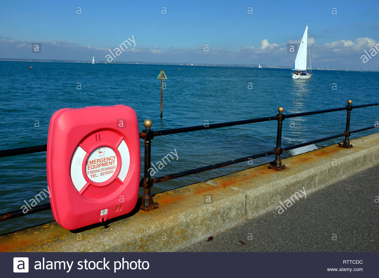 lifebelt, safety, sea, seafront, yacht, The Solent, Cowes, Gurnard, Victoria, parade, Isle of Wight, England, UK, - Stock Image