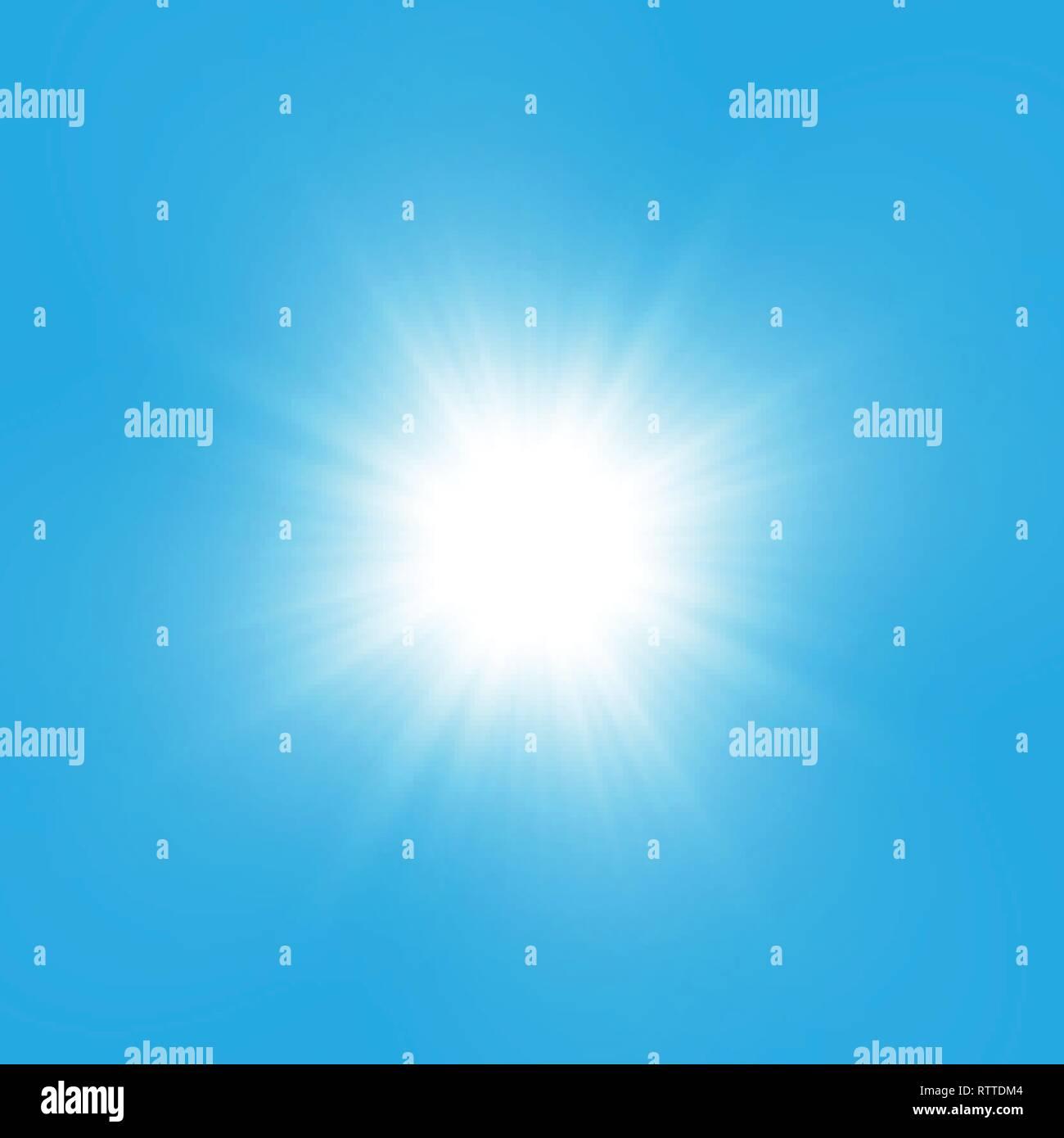 Glow light effect. Starburst with sparkles on blue background. Vector illustration. Sun Stock Vector