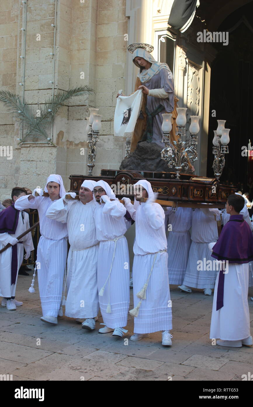 Good Friday Procession at Zejtun on the Island of Malta: 8.Statue - The Veronica. - Stock Image