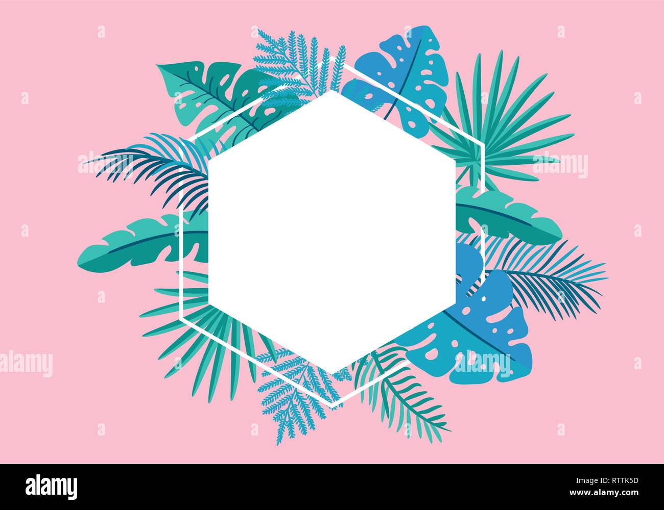 Summer Vector floral frame tropical leaves palm with place