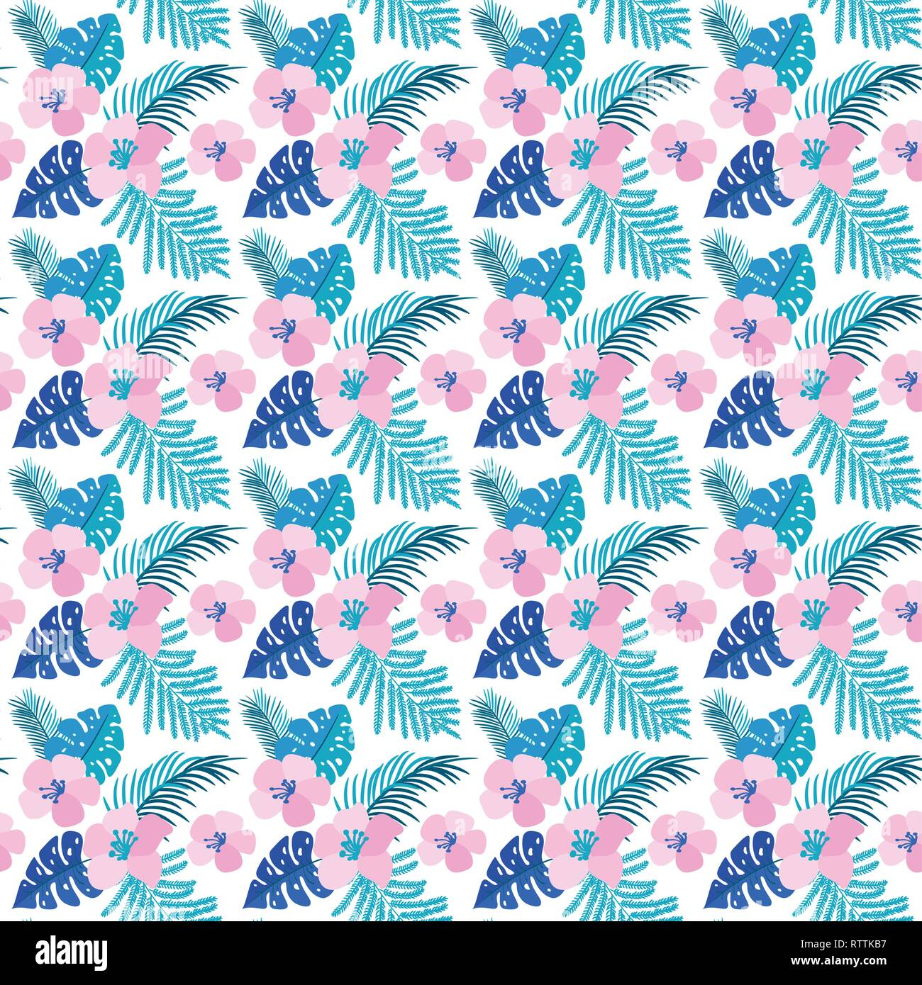 Vector Summer Seamless Pattern With Flat Flowers And Tropical