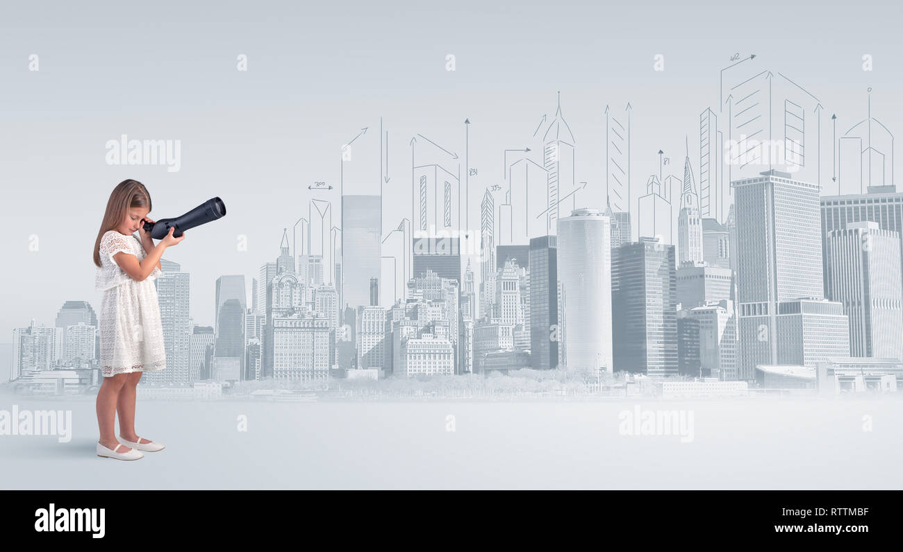 Cute little girl looking through spyglass to a big city  - Stock Image