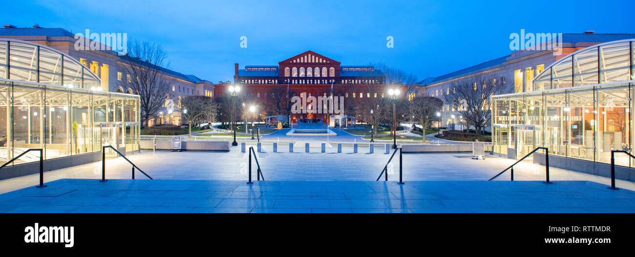 USA Washington DC National Law Enforcement Museum Exterior panorama with the National Building Museum in background - Stock Image