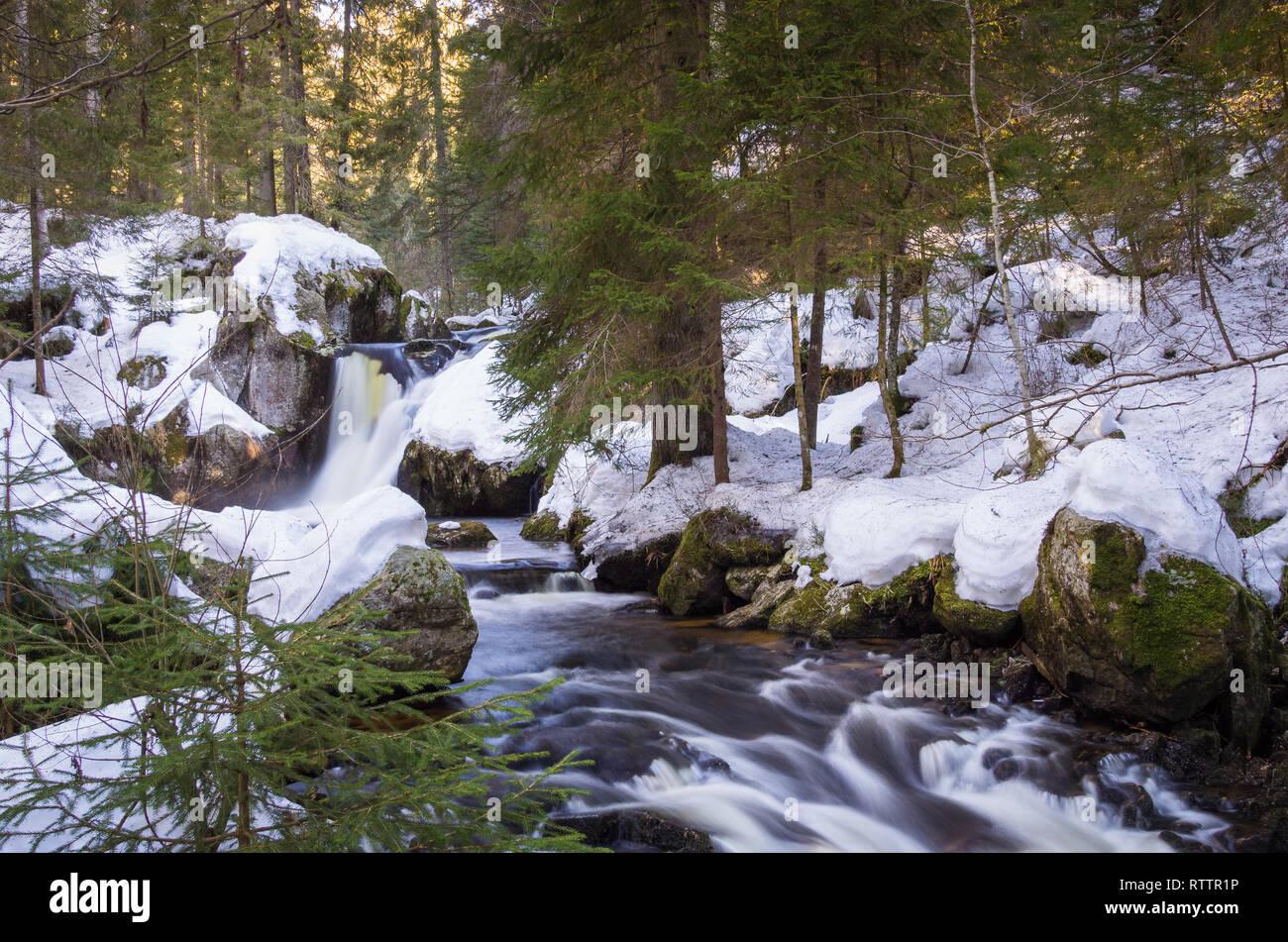 Der märchenhafte Kai Woog Gumpen Wasserfall im Schwarzwald Stock Photo