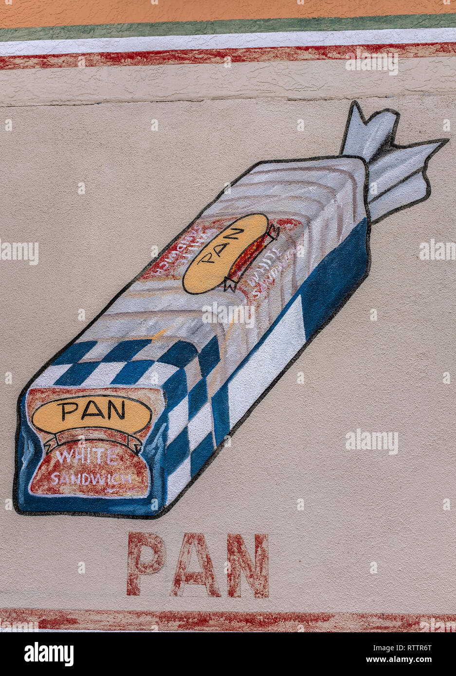 grocery items painted on wall of Country Club Market, Albuquerque, New Mexico (loaf of bread) Stock Photo