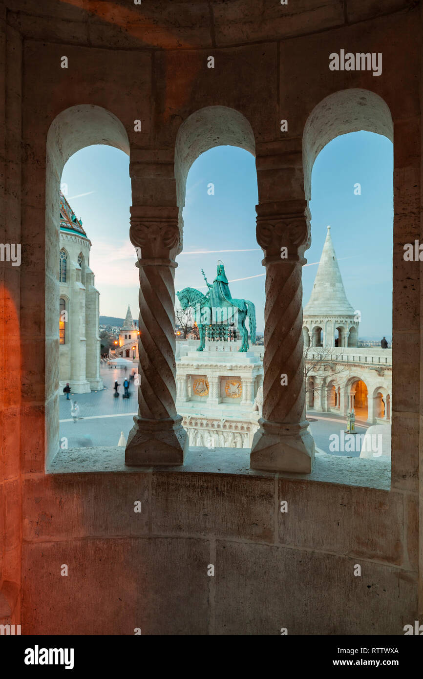 Evening at Fisherman's Bastion in the Castle District of Budapest, Hungary. - Stock Image