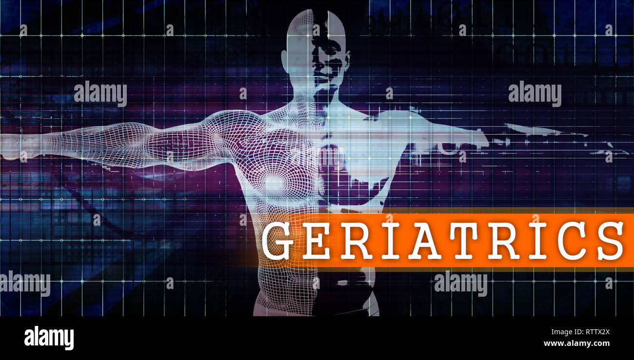 Geriatrics Medical Industry with Human Body Scan Concept Stock Photo