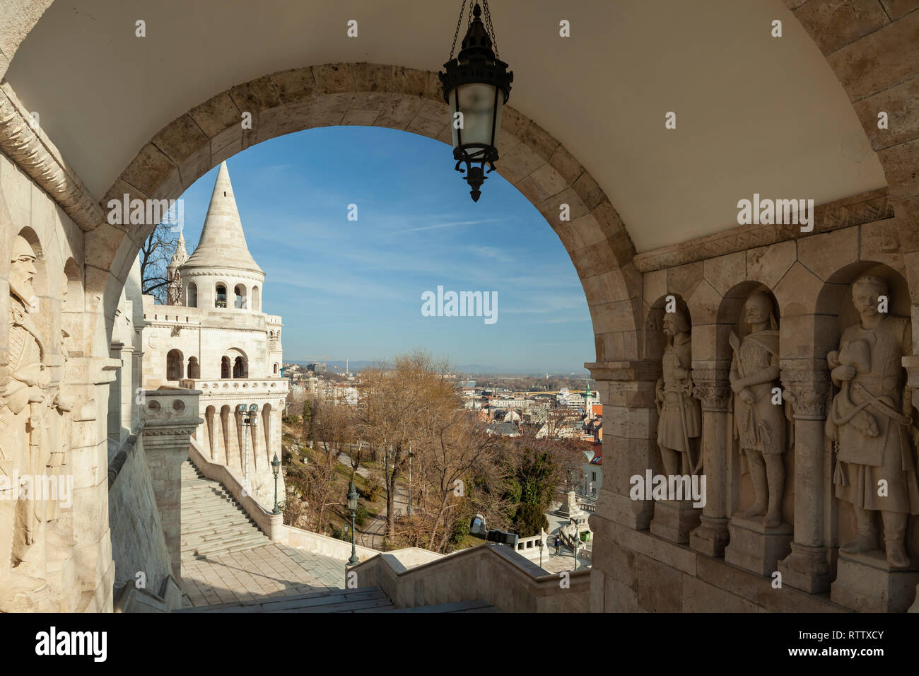 Morning at Fisherman's Bastion in the Castle District of Budapest, Hungary. - Stock Image