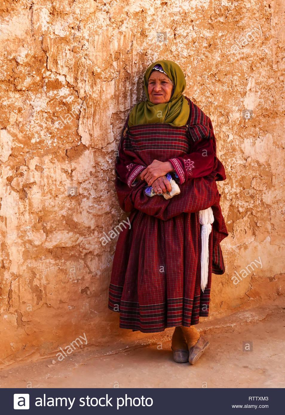 Tunesia, Matmata, 03/18/2015:  Old Woman, Troglodyte Home, Matmata ,Tunisia, Portrait - Stock Image