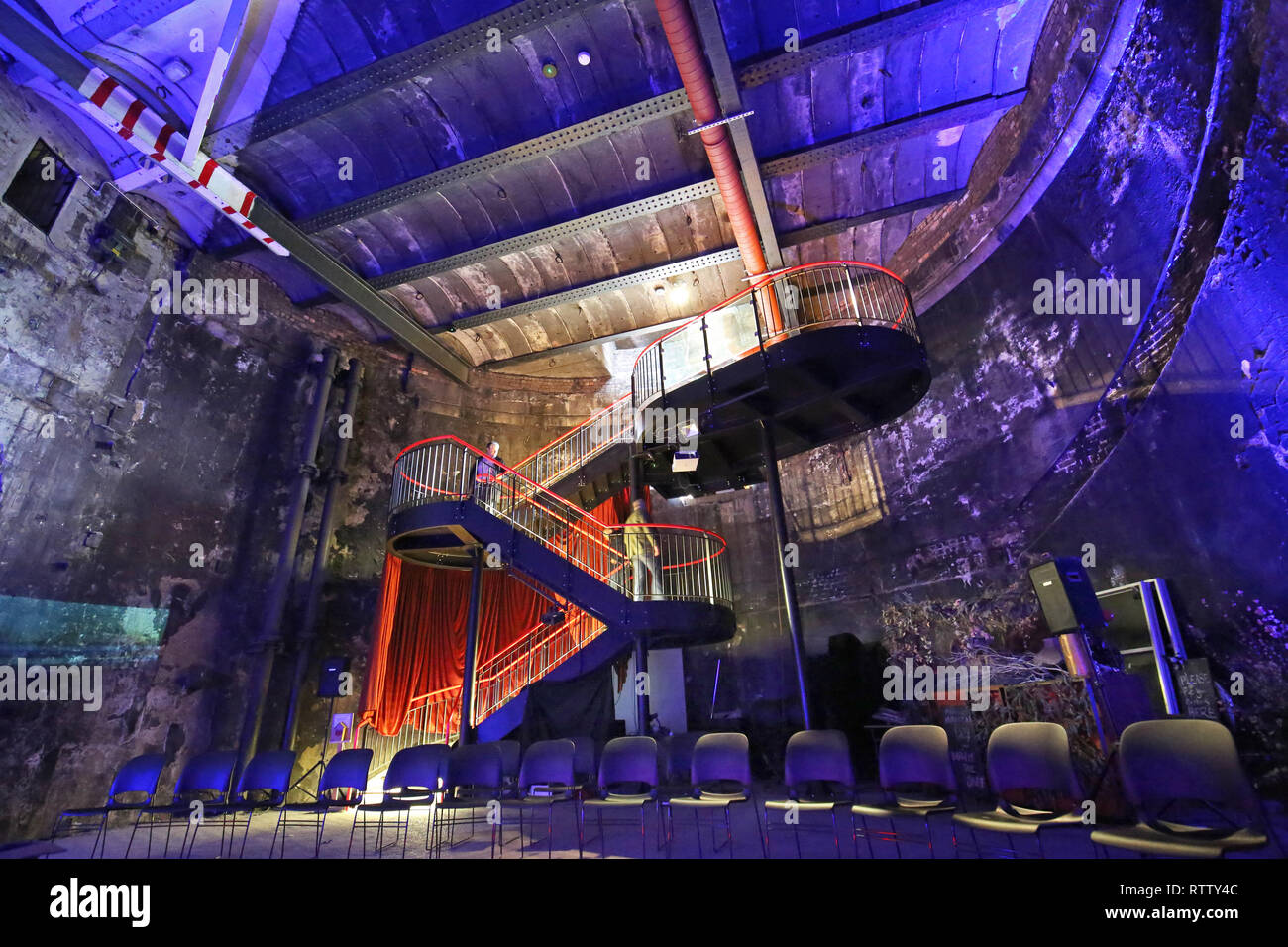 Interior of the Brunel engineering museum in Rotherhithe, London, UK. Built within the original access shaft to his Victorian River Thames  tunnel. - Stock Image