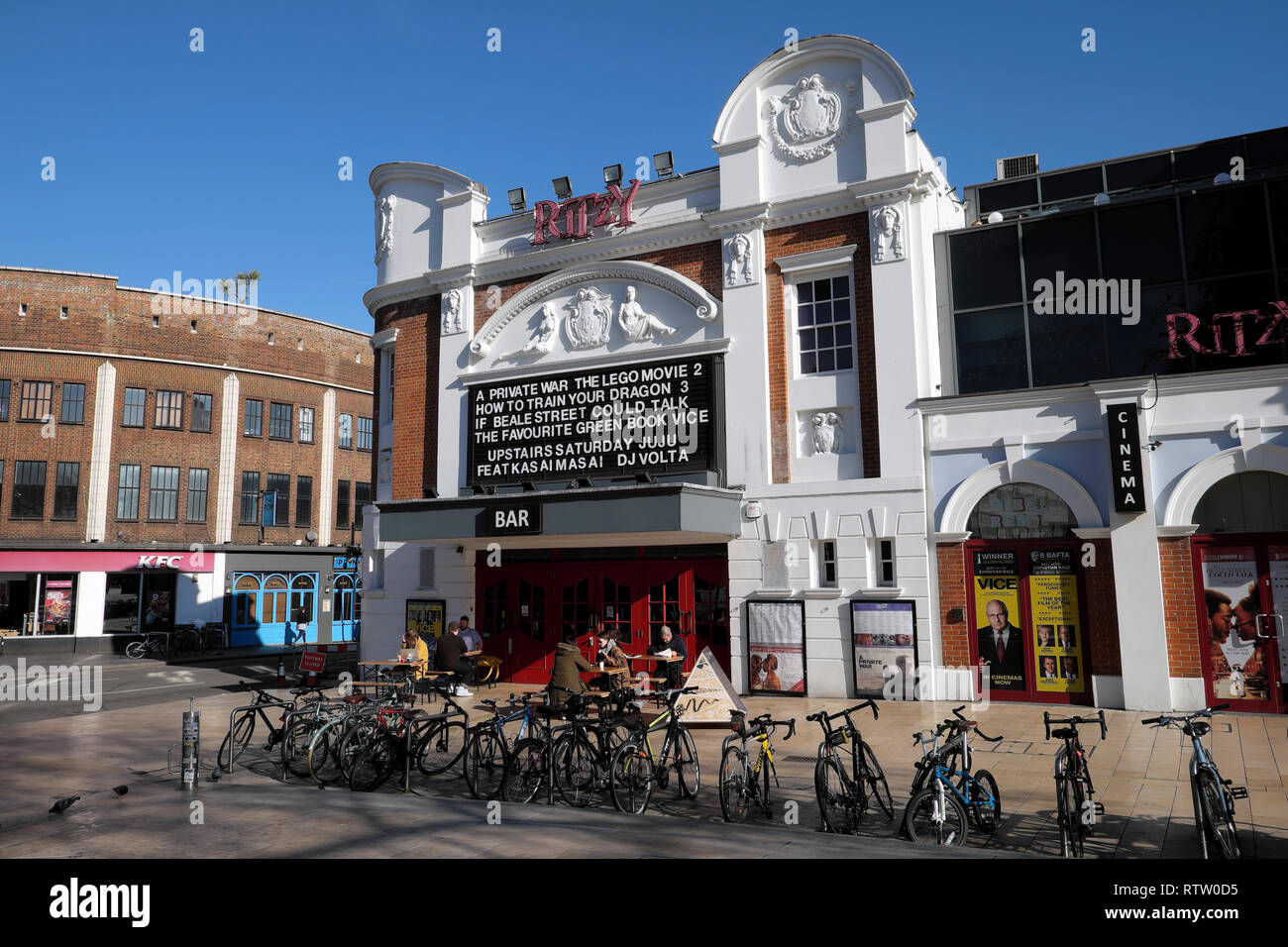 best service ea9be 107a3 Ritzy Cinema and Bar outside view showing movies films in Brixton South  London UK KATHY DEWITT
