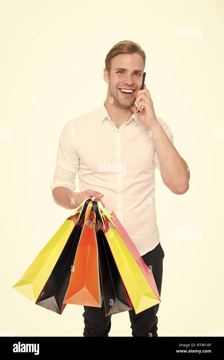 Guy buy clothes online  Online shopping concept  Take