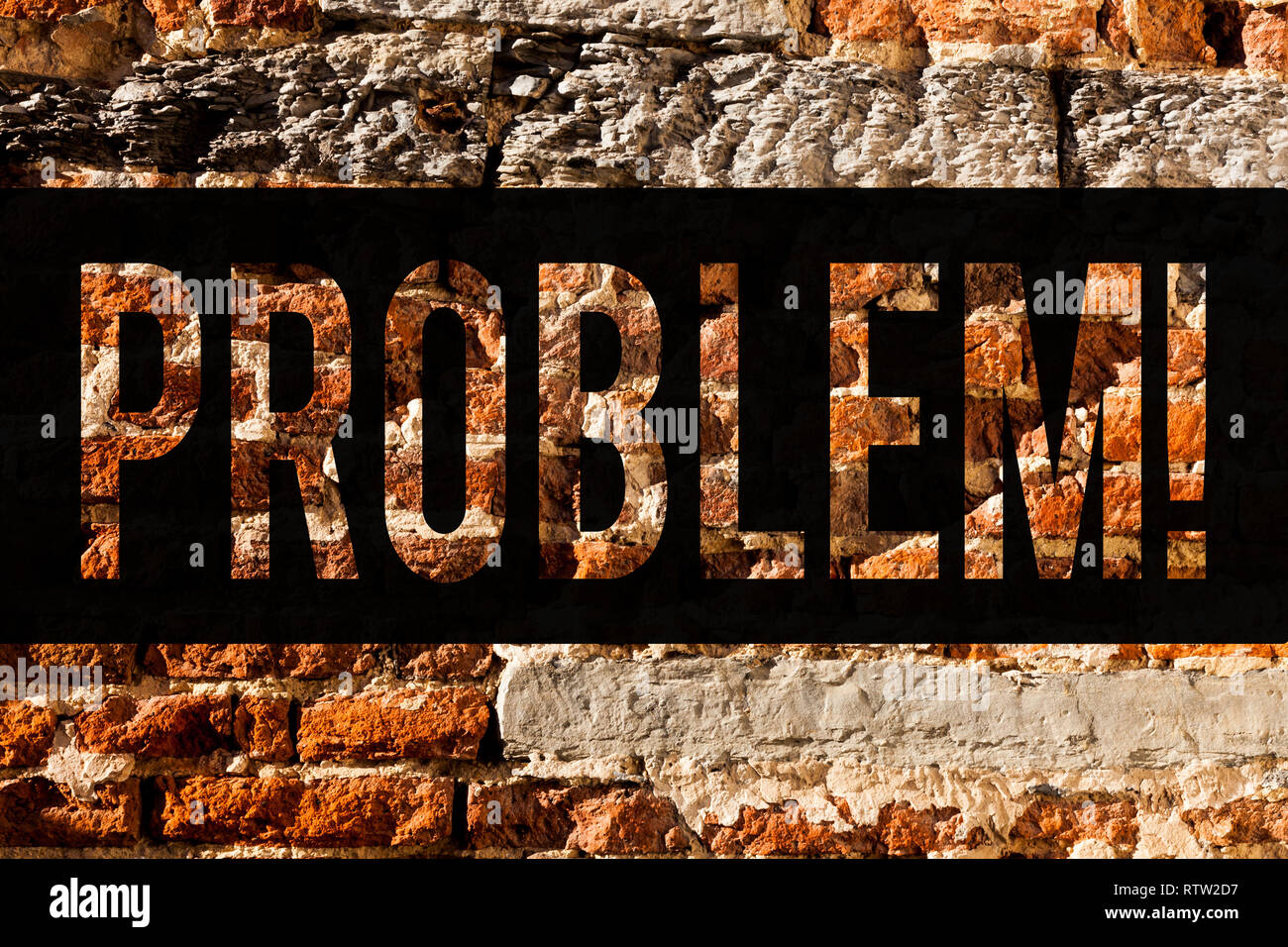Word writing text Problem. Business concept for Trouble that need to be solved Difficult Situation Complication Brick Wall art like Graffiti motivatio - Stock Image
