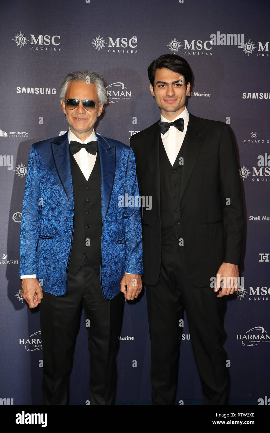 Andrea Bocelli and Matteo Bocelli (right) arrive for the naming ceremony of the MSC Bellissima, the largest cruise ship to be christened in the UK, at the City Cruise Terminal in Southampton. - Stock Image