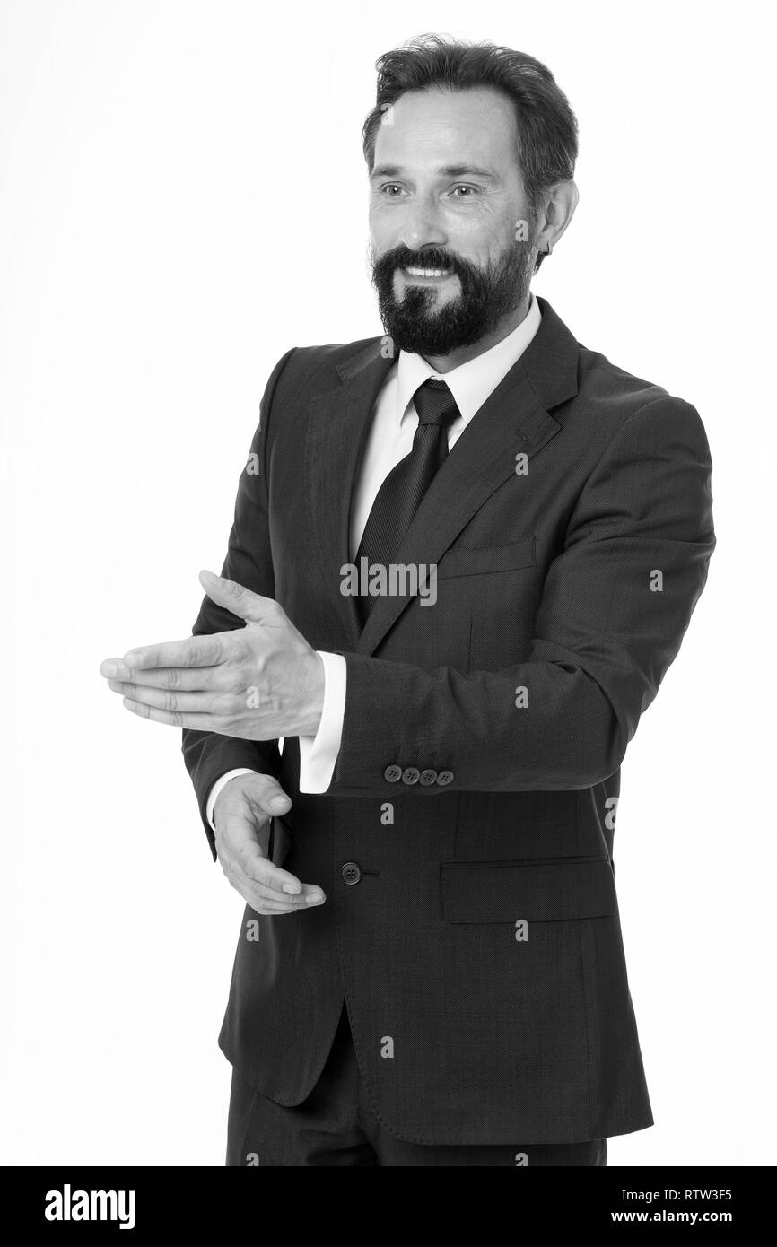 Businessman glad to meet you. Businessman formal suit mature man isolated white. Businessman bearded handsome entrepreneur. Successful businessman concept. Customer service tips improve business. - Stock Image