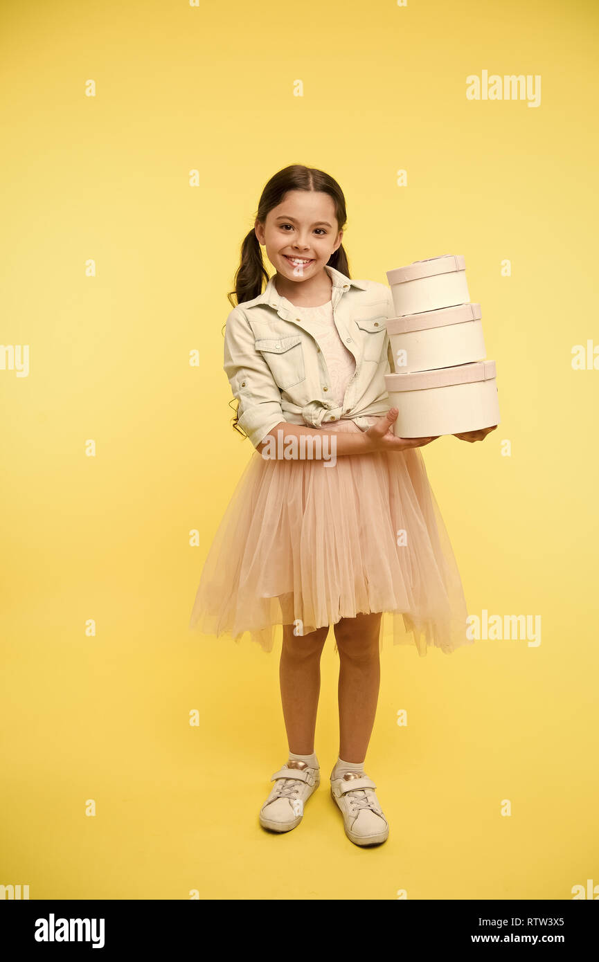 Girl Carries Pile Boxes Prepare Shopping Sale Season Prepare For