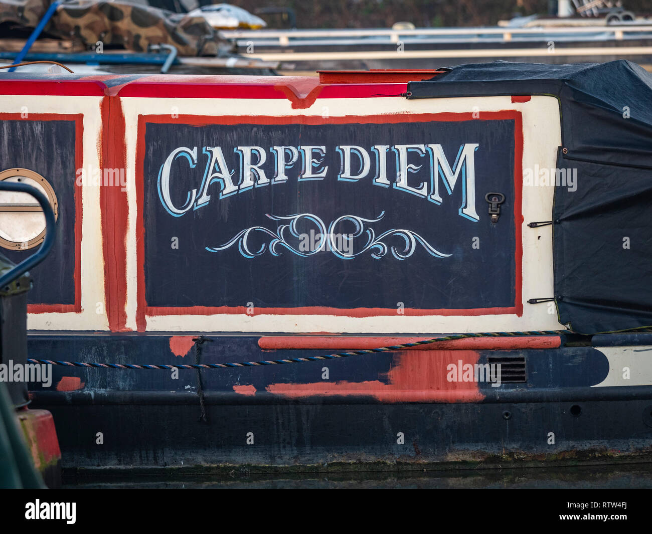Boats at Trinity Marina, inland narrowboat and canal boat marina, Ashby Canal, Hinckley, Leicestershire, UK. - Stock Image