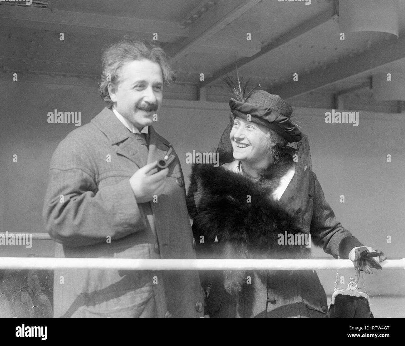 Albert einstein and his second wife elsa einstein on board the ss rotterdam arriving in new york - Stock Image