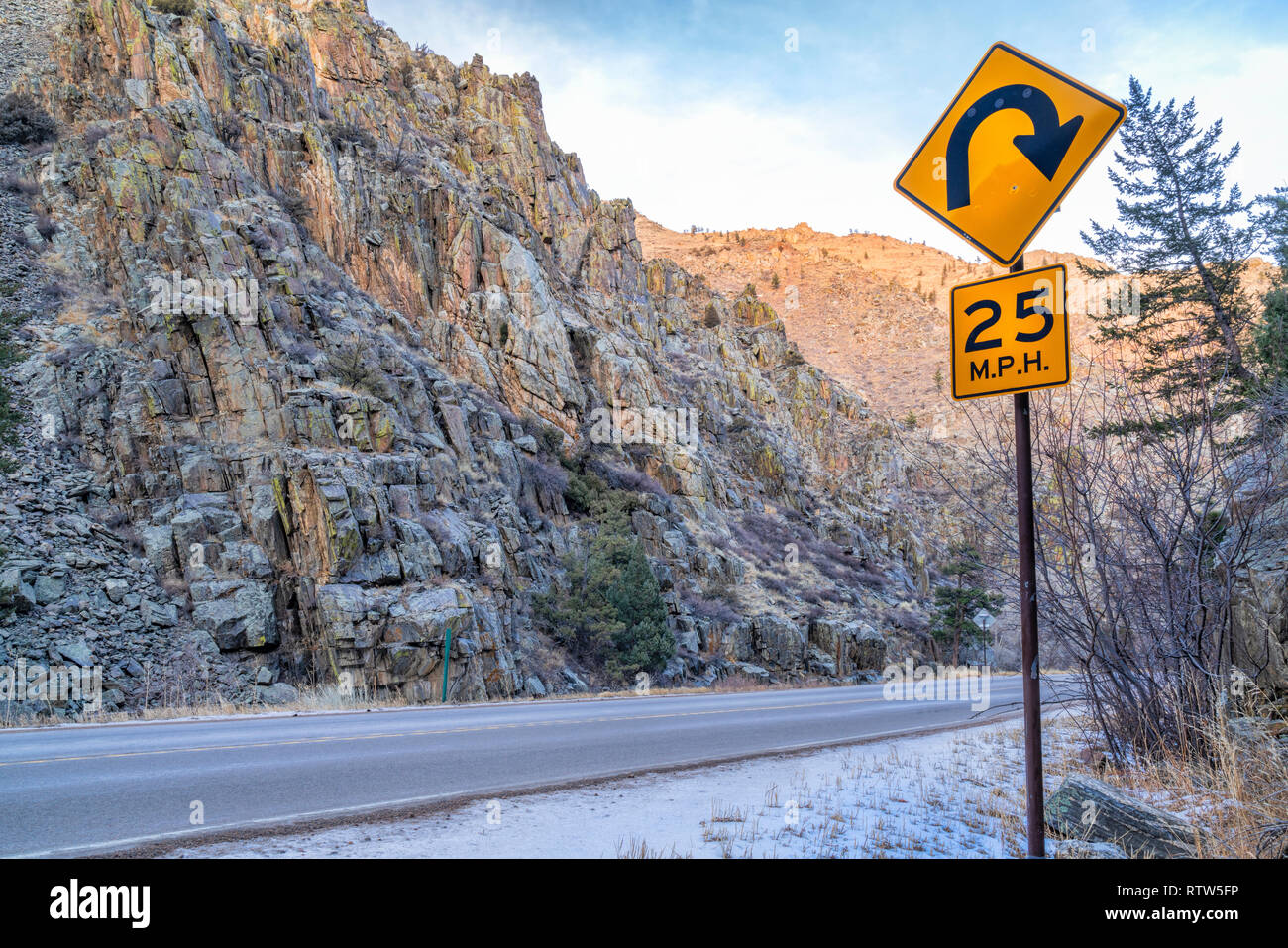 mountain highway with sharp turnings - Poudre River canyon in Rocky Mountains in northern Colorado, winter scenery - Stock Image