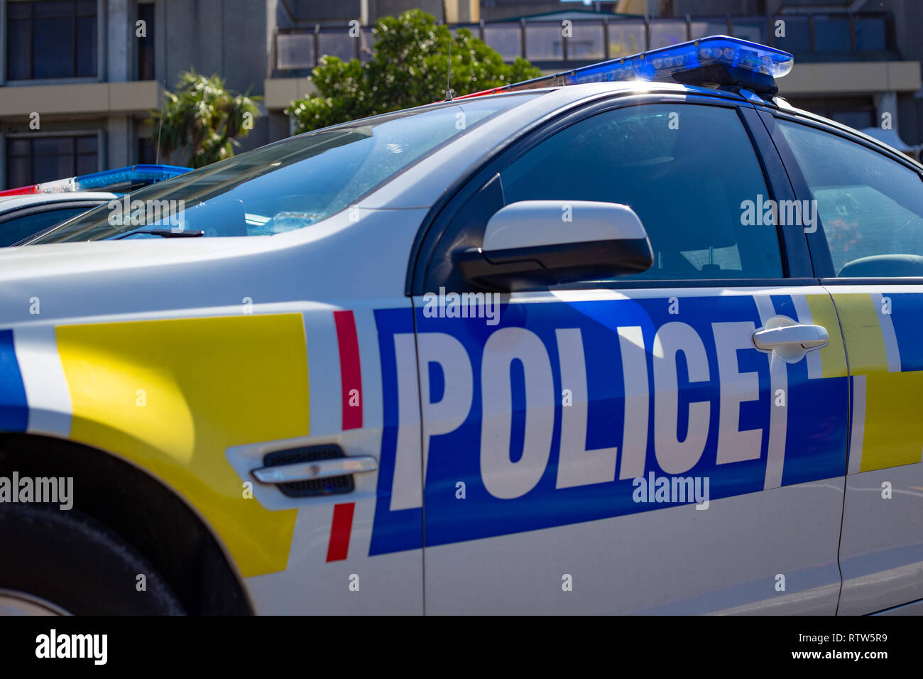 Christchurch, New Zealand, March 2 2019: Parked New Zealand police cars with their distinct branding - Stock Image