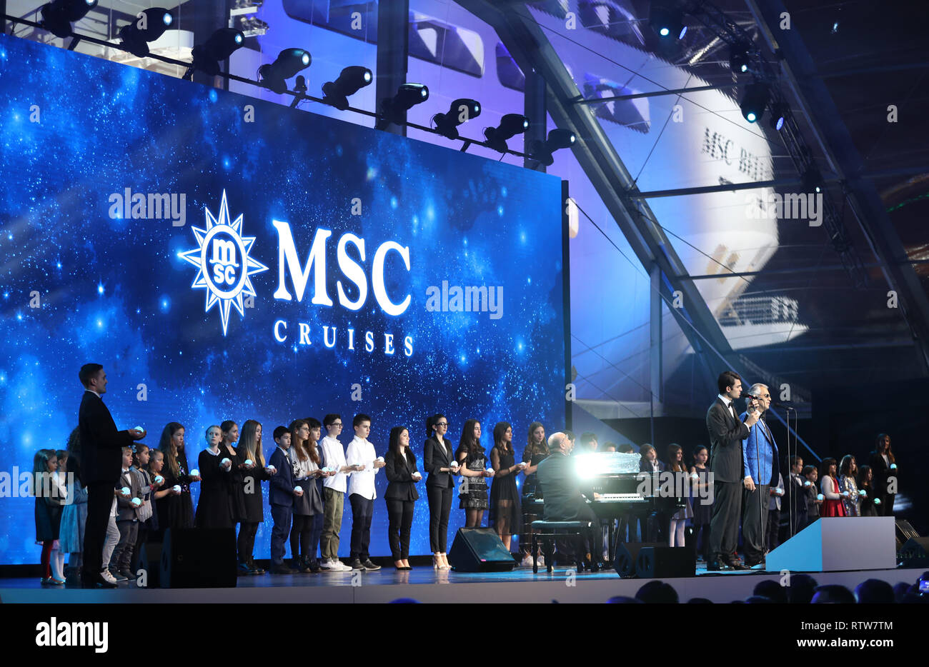Andrea Bocelli and Matteo Bocelli performing at the naming ceremony of the MSC Bellissima, the largest cruise ship to be christened in the UK, at the City Cruise Terminal in Southampton. - Stock Image