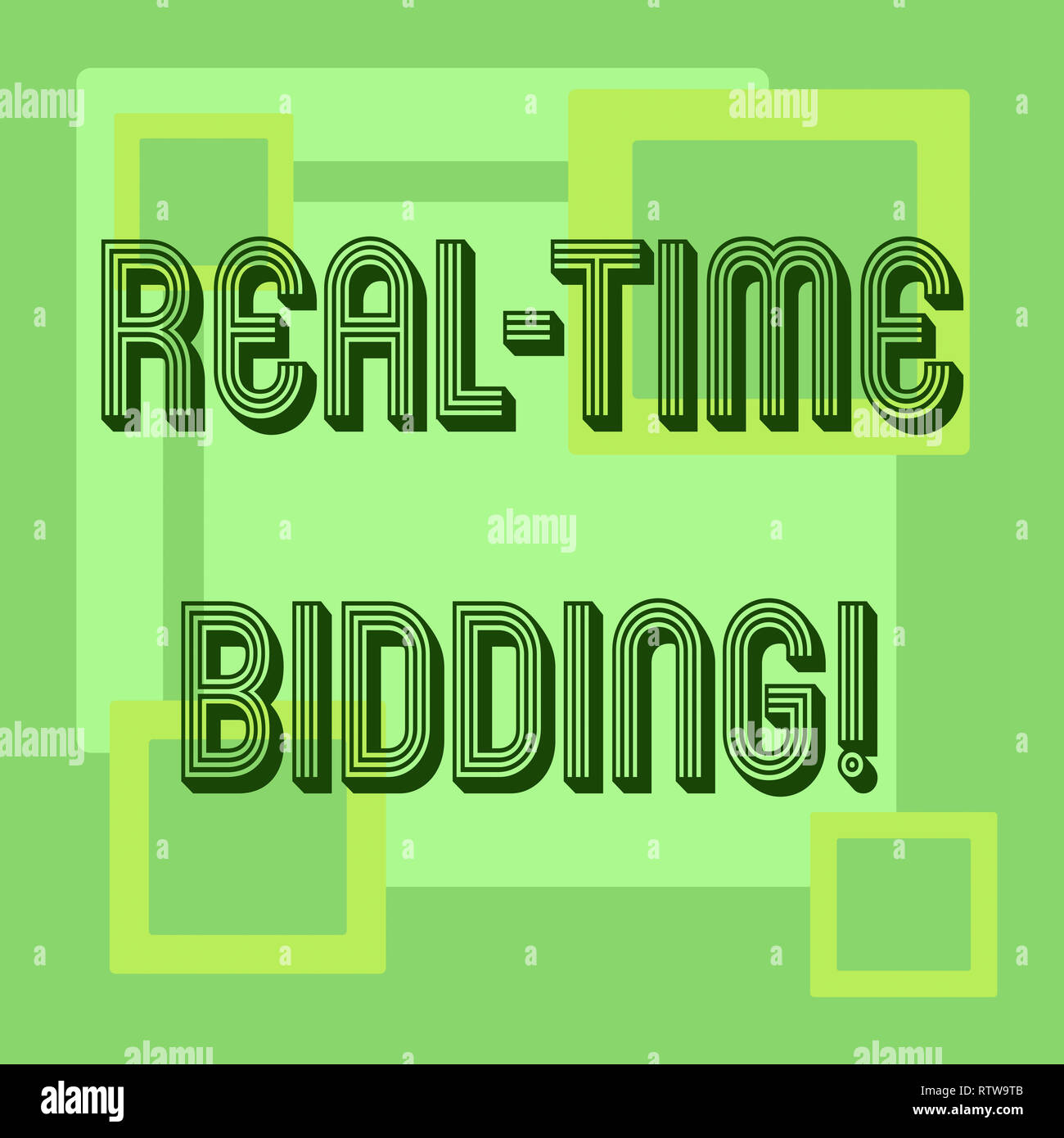 Handwriting text Real Time Bidding. Concept meaning Buy and sell advertising inventory by instant auctions Stock Photo