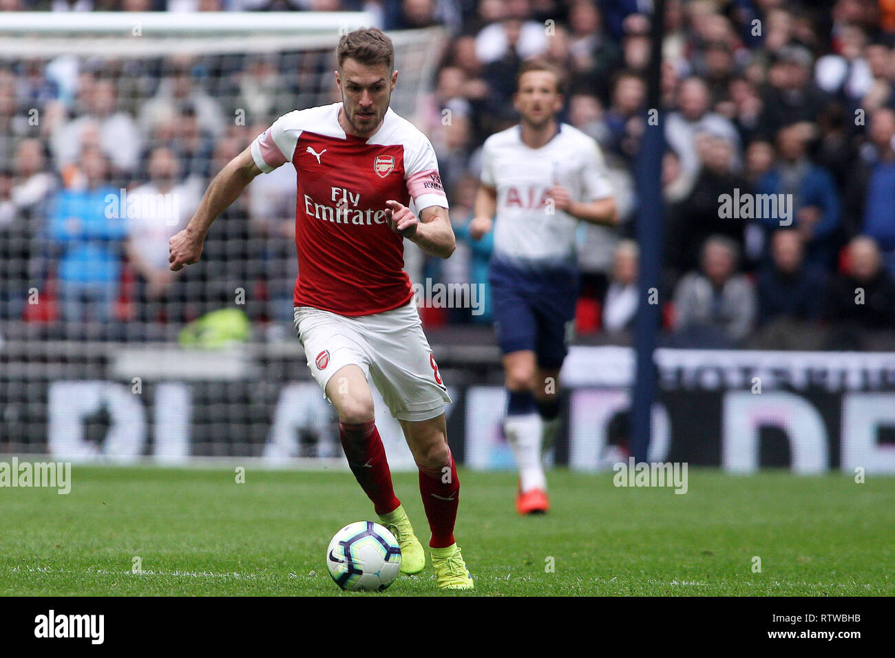 London Uk 2nd March 2019 Aaron Ramsey Of Arsenal In Action Epl Premier League Match Tottenham Hotspur V Arsenal At Wembley Stadium In London On Saturday 2nd March 2019 This Image May