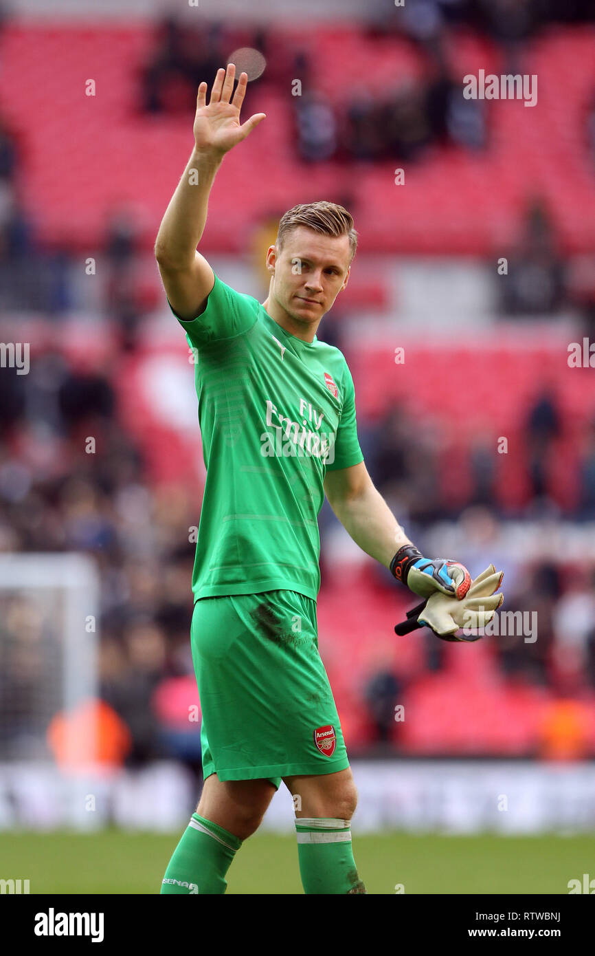 Wembley Stadium, London, UK. 2nd March 2019.   Bernd Leno of Arsenal thanks the Arsenal fan for the support during the Premier League match between Tottenham Hotspur and Arsenal at Wembley Stadium on March 2nd 2019 in London, England. Credit: PHC Images/Alamy Live News Credit: PHC Images/Alamy Live News Stock Photo