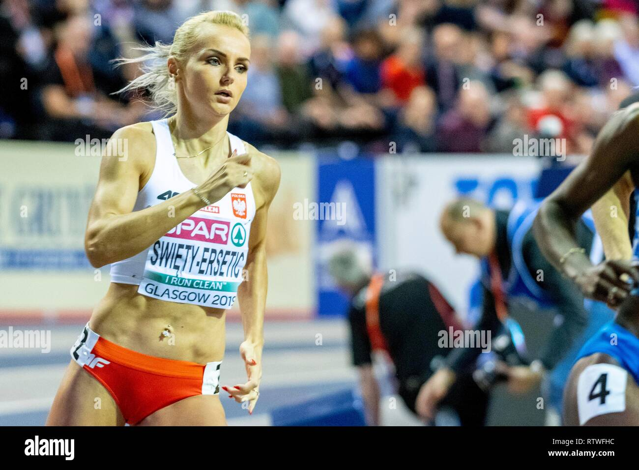 Glasgow, Scotland, UK. 2nd March, 2019. SWIETY-ERSETIC Justyna POL competing in the 400m Women Final event during day TWO of the European Athletics Indoor Championships 2019 at Emirates Arena  in Glasgow, Scotland, United Kingdom. 2.03.2019 Credit: Cronos/Alamy Live News - Stock Image