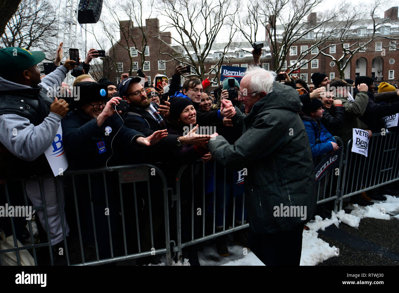 New York, NY, USA. 2nd March, 2019. Bernie Sanders (I-VT) greets supporters as he kicks-off his campaign for the 2020 U.S. Presidential Elections on a Democratic ticket at a rally at Brooklyn College, in Brooklyn, NY on March 2, 2019. Credit: OOgImages/Alamy Live News - Stock Image