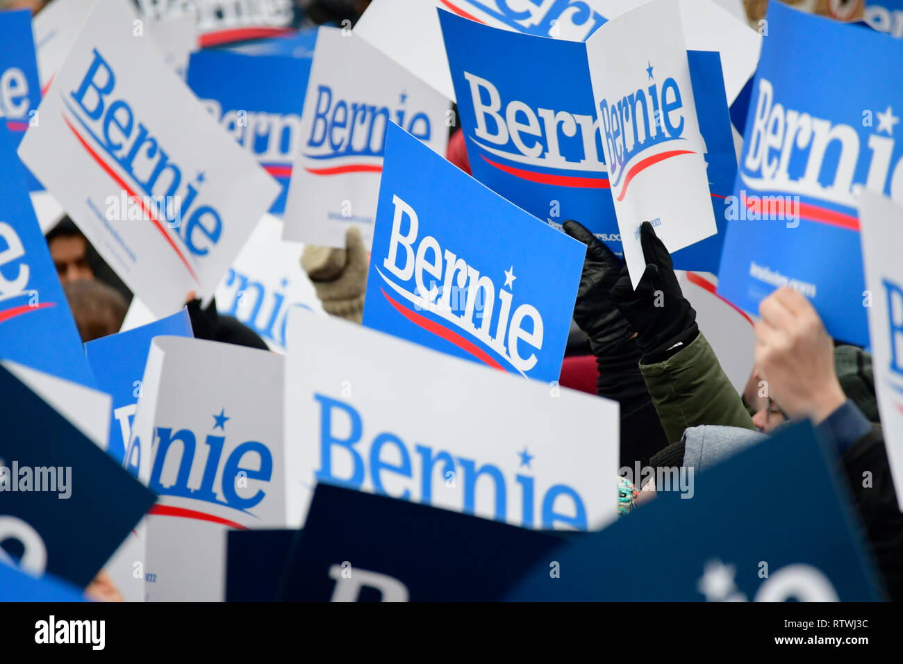 New York, NY, USA. 2nd March, 2019. Supporters of Bernie Sanders hold up signs as the Independent US Senator from Vermont kicks-off his campaign for the 2020 U.S. Presidential Elections on a Democratic ticket at a rally at Brooklyn College, in Brooklyn, NY on March 2, 2019. Credit: OOgImages/Alamy Live News - Stock Image