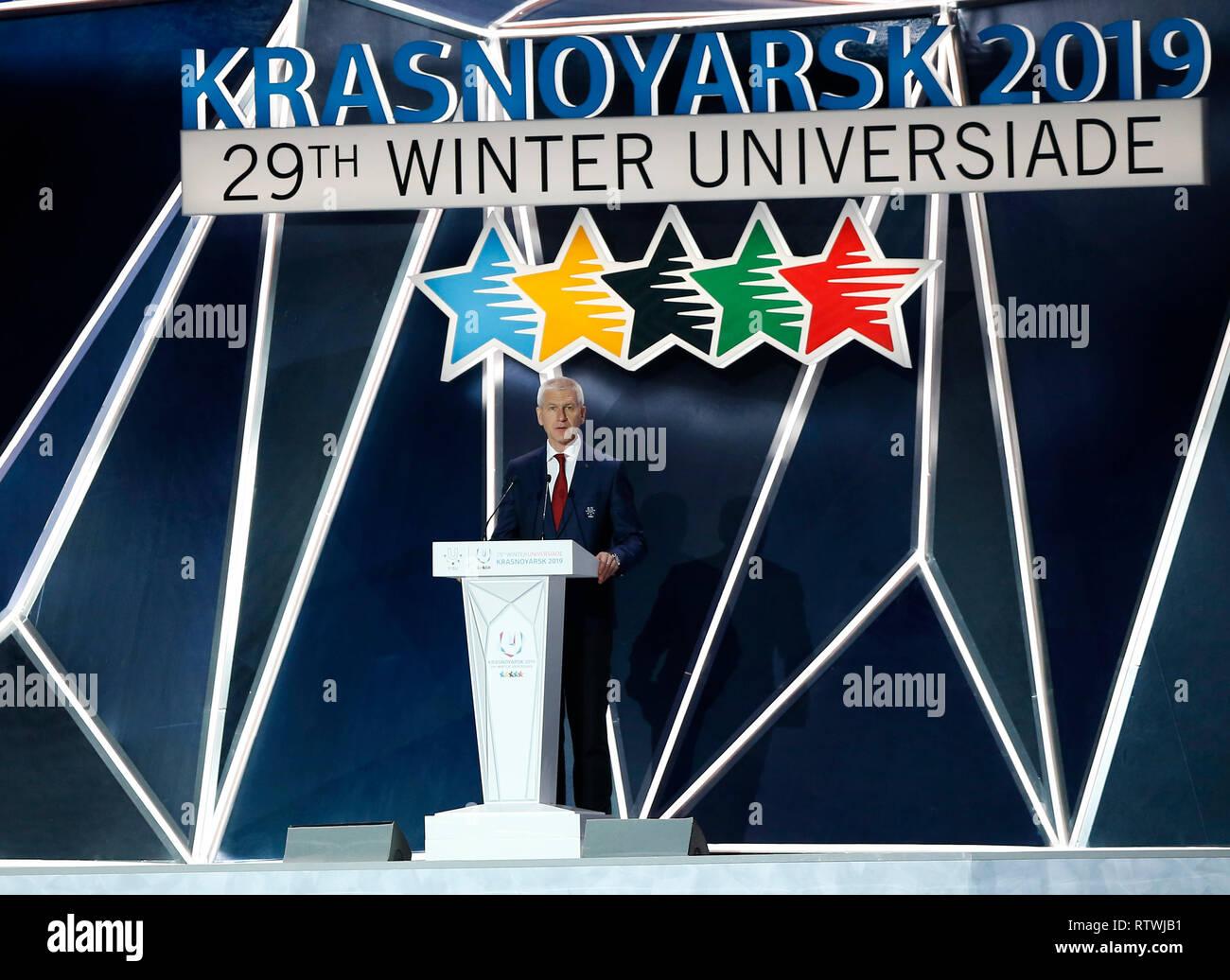 Krasnoyarsk, Russia. 2nd Mar, 2019. International University Sports Federation (FISU) President Oleg Matytsin addresses the opening ceremony of 29th Winter Universiade in Krasnoyarsk, Russia, March 2, 2019. Credit: Wang Dongzhen/Xinhua/Alamy Live News - Stock Image