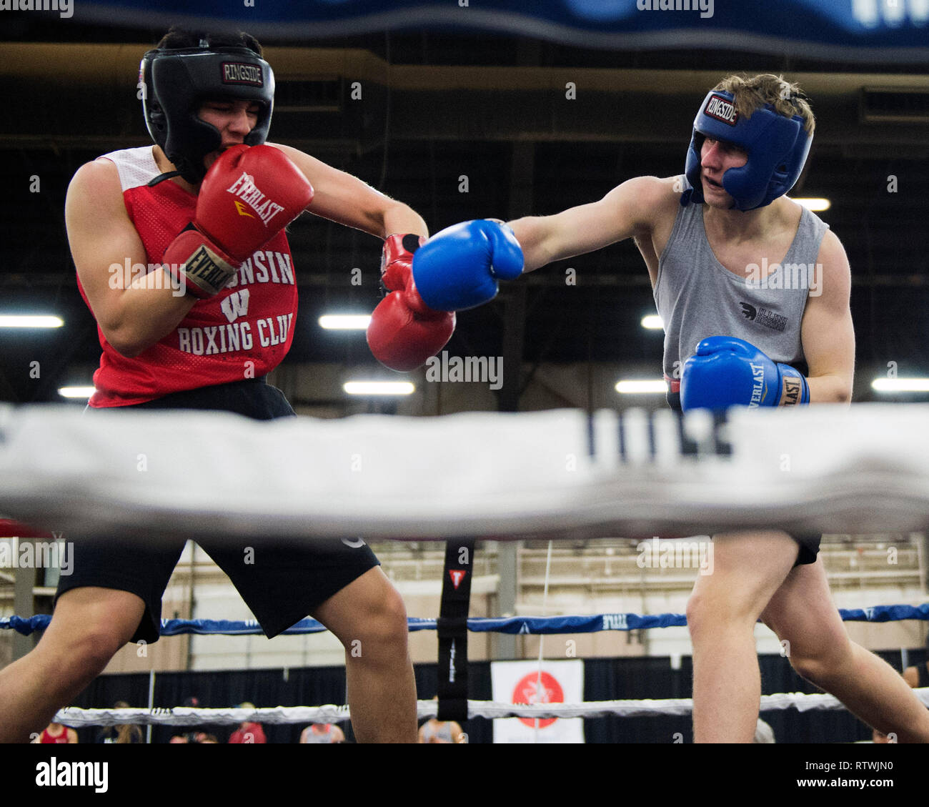 March 2, 2019: Emiliano Acorta of Wisconsin fights James Ferrari of Penn State in the Amateur Boxing competition at the Arnold Sports Festival in Columbus, Ohio, USA. Brent Clark/Alamy Live News Stock Photo