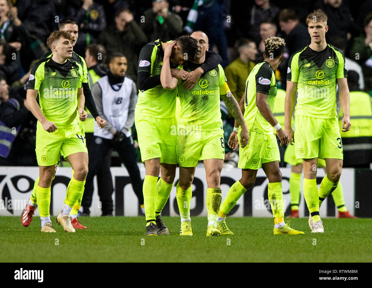 Edinburgh, Scotland, UK. 02nd March, 2019. Scottish Cup Quarter Final - Hibernian v Celtic, Edinburgh, Midlothian, UK. 02nd Mar, 2019. Pic shows: Celtic midfielder, Scott Brown, and Israeli central defender, Nir Bitton, celebrate after Brown puts the visitors 2 ahead as Hibs play host to Celtic in the Quarter Final of the Scottish Cup at Easter Road Stadium, Edinburgh Credit: Alamy/Ian Jacobs Credit: Ian Jacobs/Alamy Live News - Stock Image