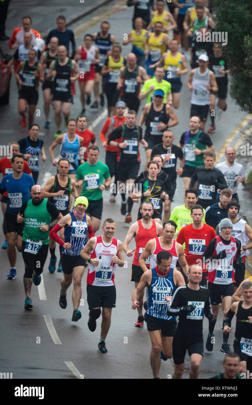 Berkhamsted, Hertfordshire, UK. 03rd Mar, 2019. BERKHAMSTED, HERTFORDSHIRE - MARCH 3: Runners in the 37th Berkhamsted Rotary Annual Half Marathon pass through Berkhamsted in Hertfordshire on March 3, 2019. Money is raised for local charities, The Pepper Foundation and the Hospice of St. Francis. Photo: Credit: 2019 David Levenson/Alamy Live News - Stock Image