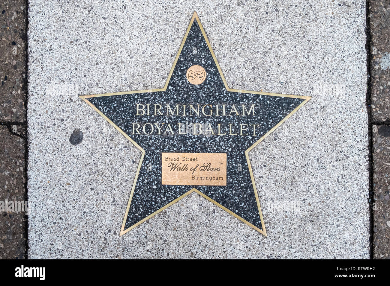 Star for Birmingham Royal Ballet on the Walk of Stars, Broad Street, Brimingham, England, GB, UK. The star was added to the walk in September 2010. - Stock Image