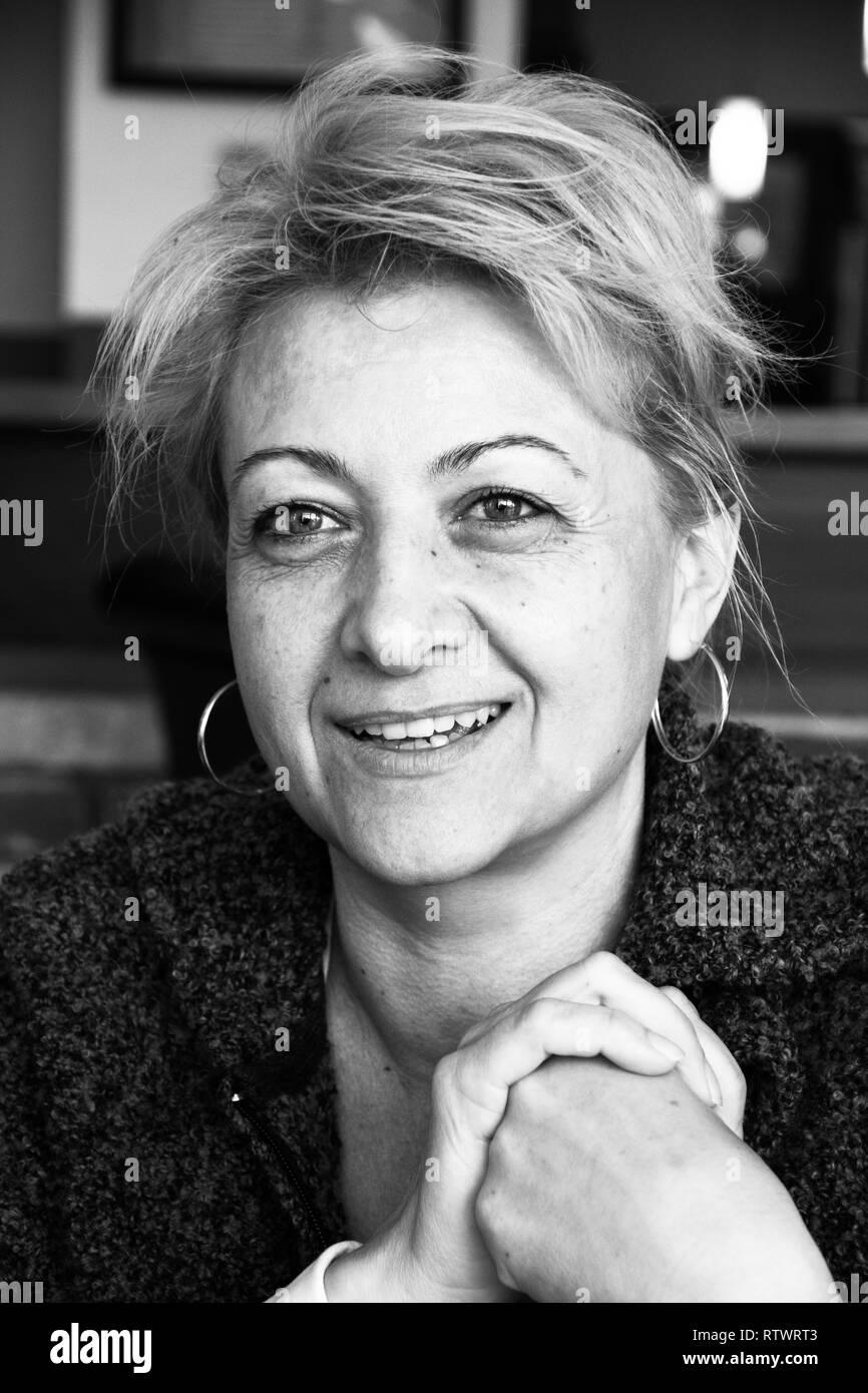 Krisztina Illes Painter, Krudy Circle Literary Club - April, 6, 2017, Budapest Hungary Exhibition - Stock Image
