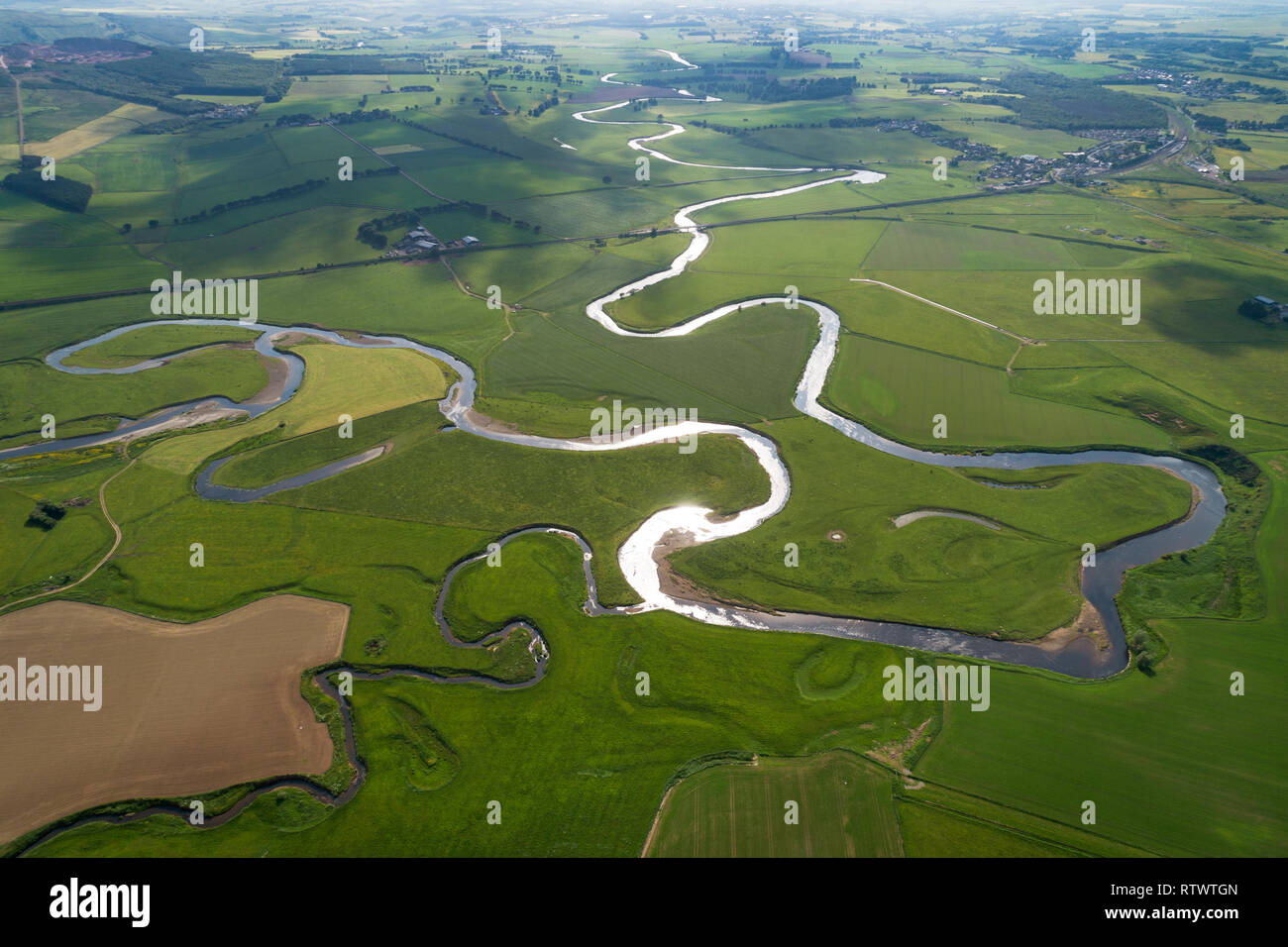Aerial image showing the River Clyde in Oxbow formations near the village of Carnwath in South Lanarkshire, Scotland. - Stock Image