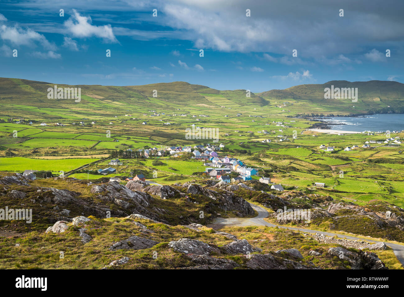 View from the Beara Way walking path above the village of Allihies, Beara, County Cork, Ireland - Stock Image