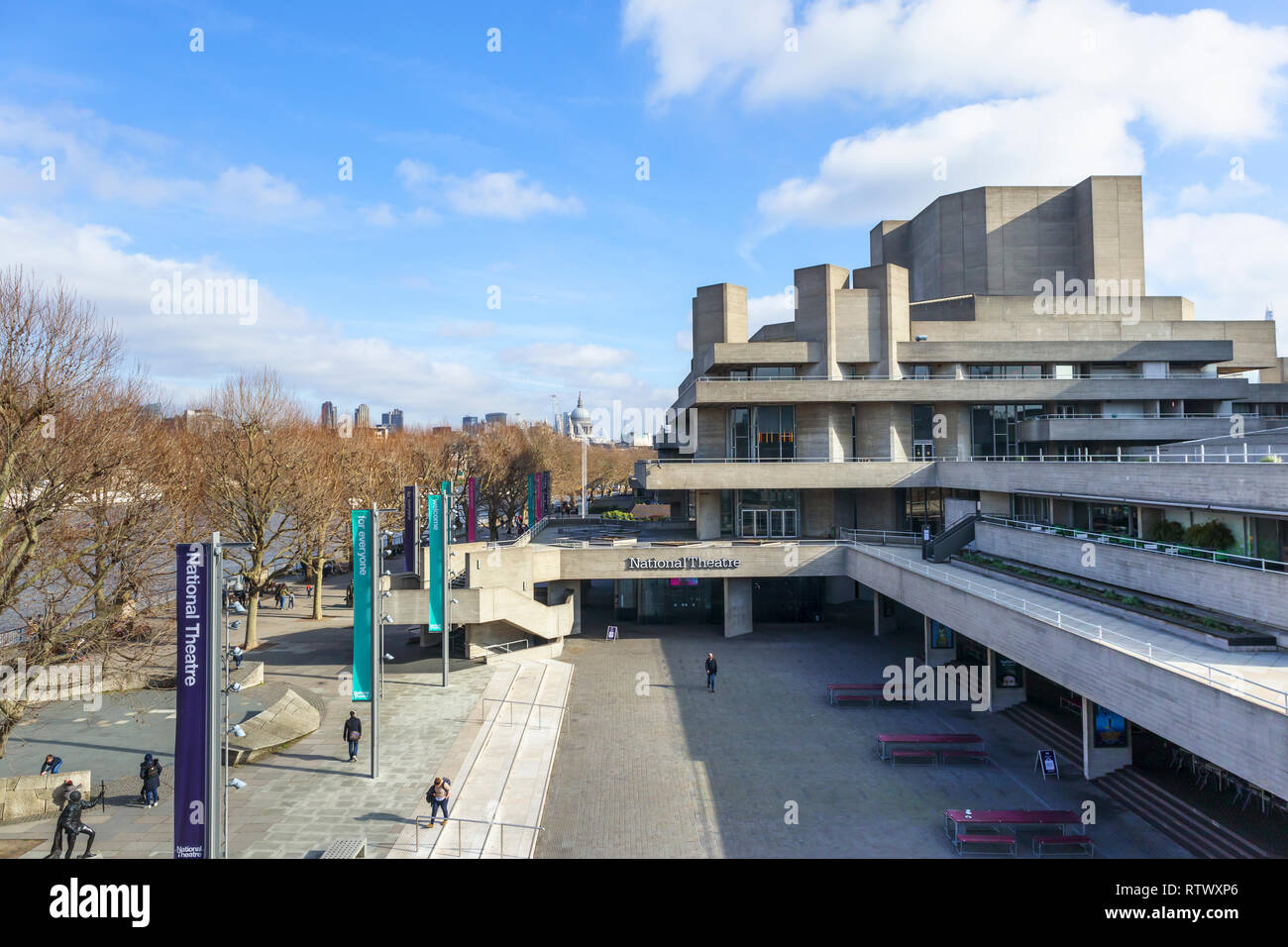 National Theatre on the South bank of the River Thames, London SE1, a popular venue for the performing arts and cultural activities - Stock Image