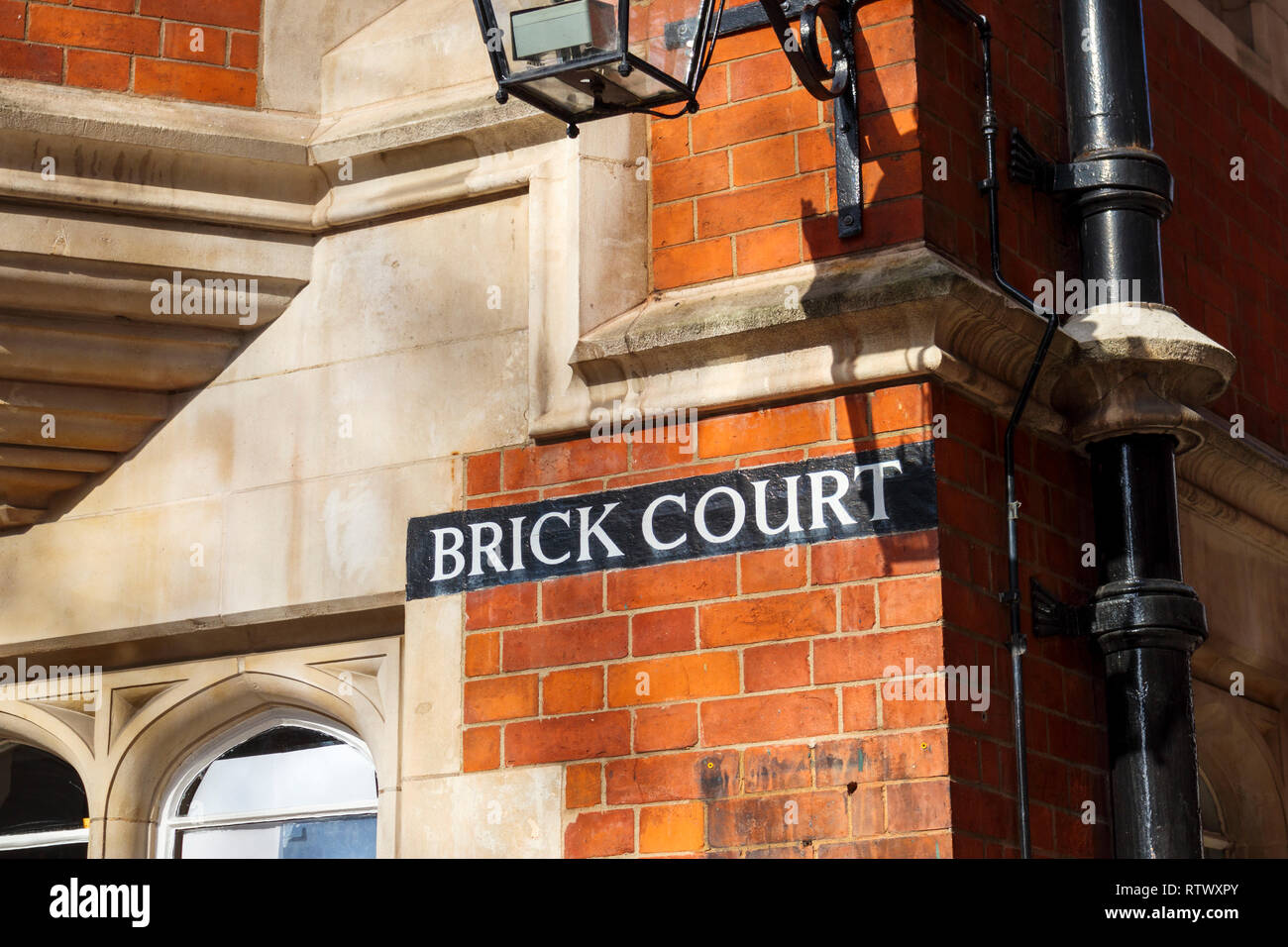 Inns of Court: Brick Court, home of a leading set of commercial litigation barristers chambers in Middle Temple Lane, 7-8 Essex St, Temple, London WC2 - Stock Image