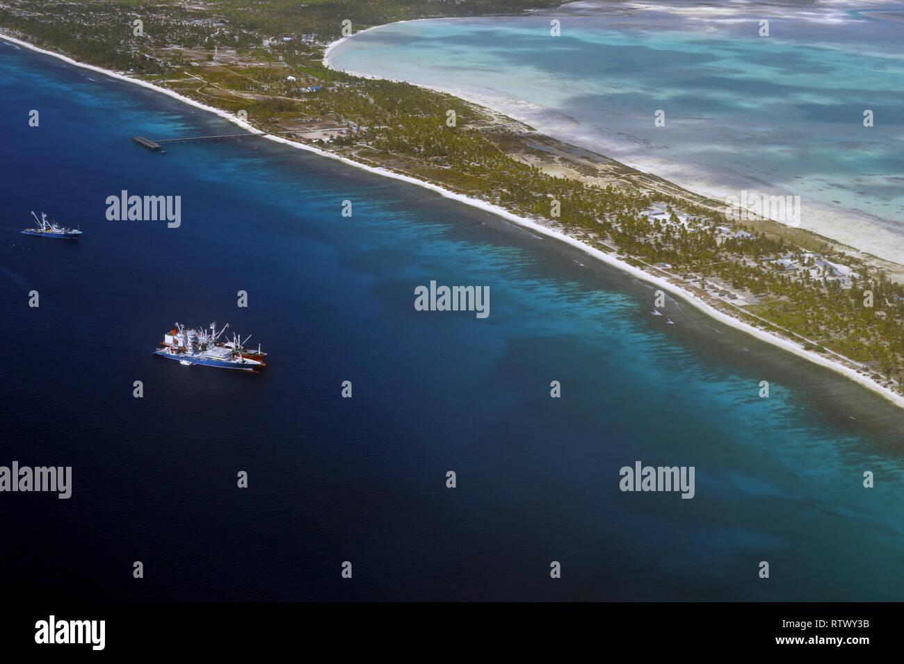 Aerial view of Christmas Island (Kiritimati),  Kiribati - Stock Image