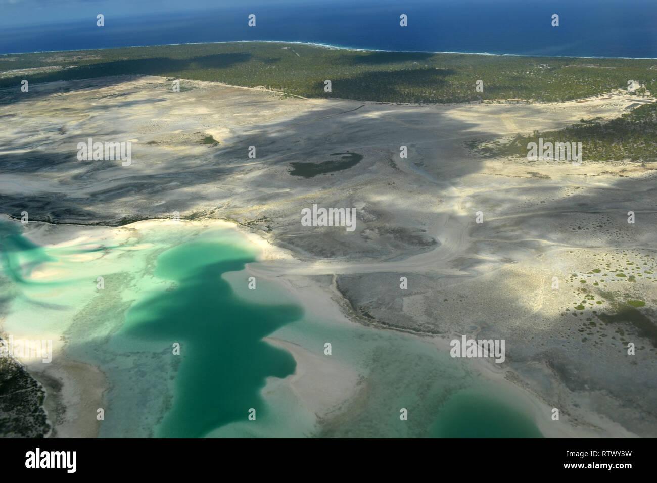 Aerial view of hypersaline lakes in Christmas Island (Kiritimati),  Kiribati Stock Photo