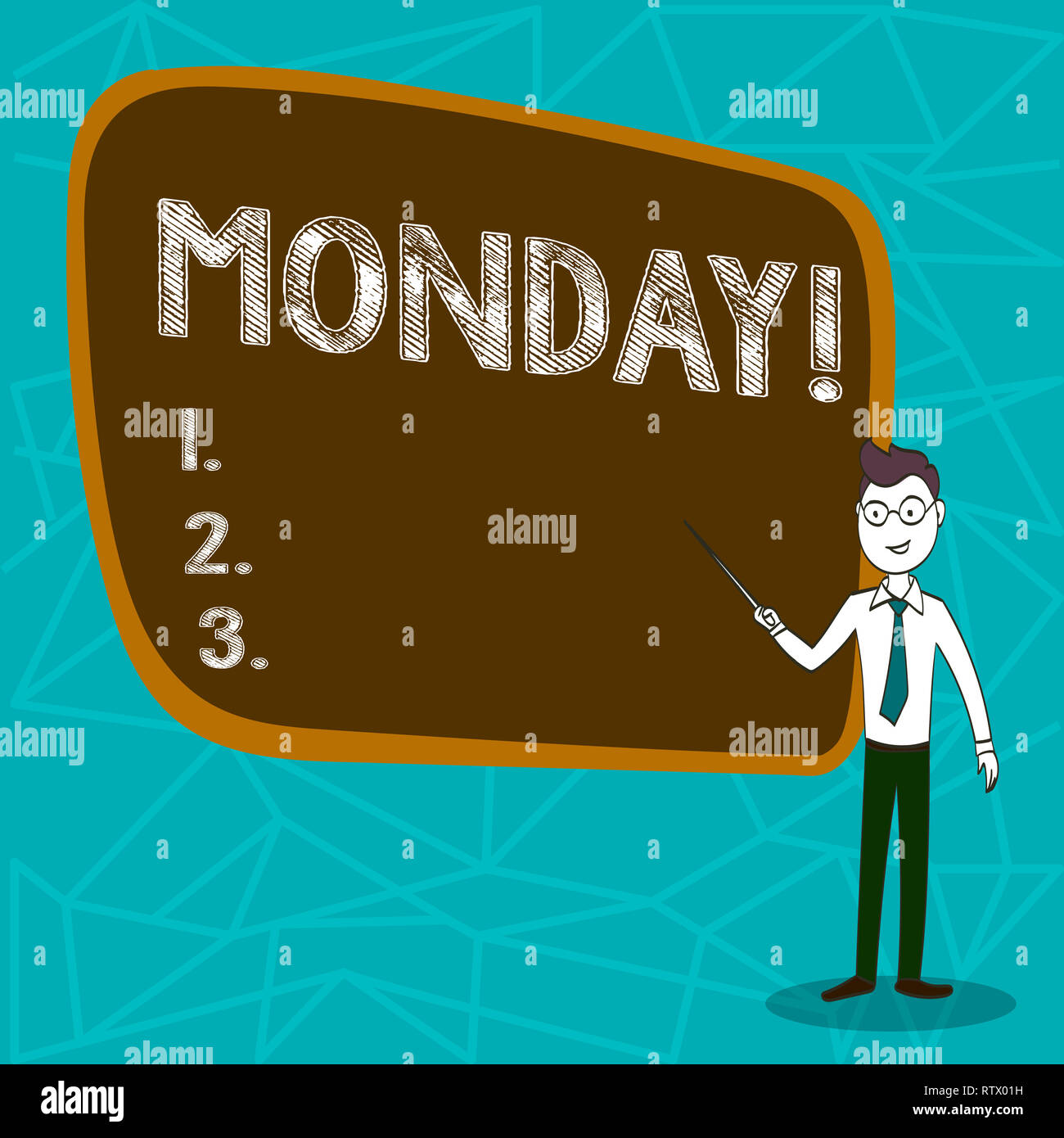 Conceptual hand writing showing Monday. Business photo showcasing First day of the week Back to work Weekend is over Wakeup Early - Stock Image