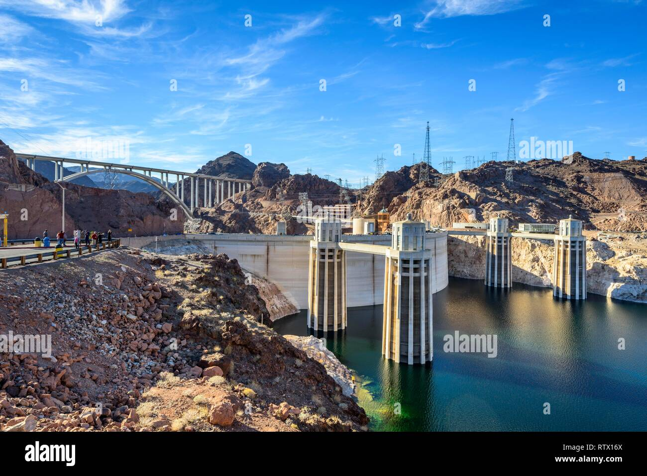 Hoover dam, Hoover Dam, dam, near Las Vegas, the water level has dropped approx. 30 m, Lake Mead, Boulder City Stock Photo