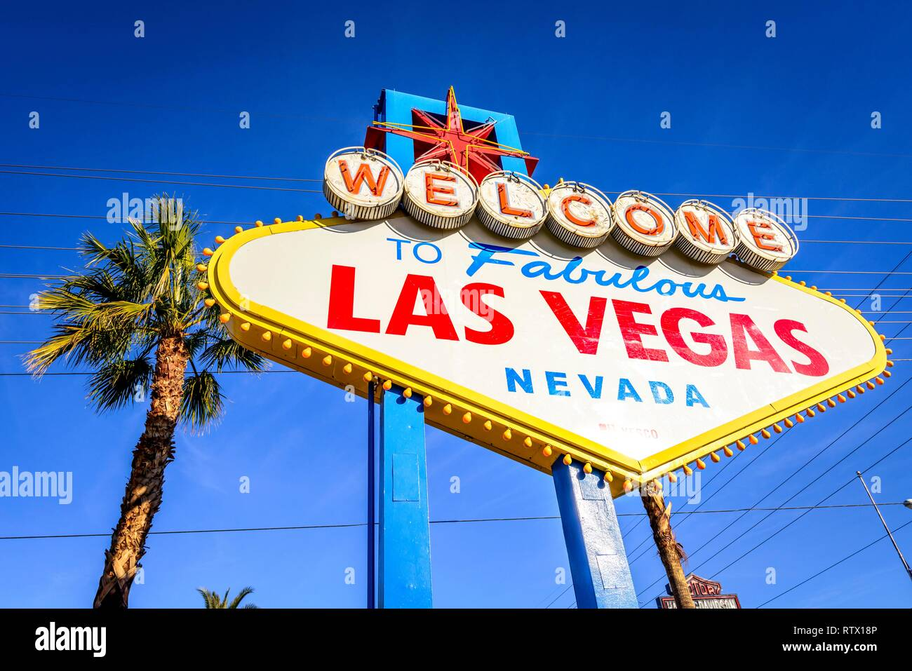 Welcome to Fabulous Las Vegas, front of the Las Vegas Welcome sign, Las Vegas Strip, Las Vegas, Nevada, USA Stock Photo