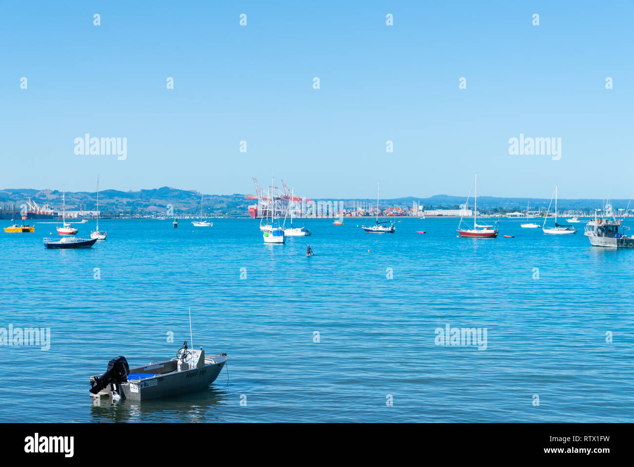 TAURANGA NEW ZEALAND - MARCH 3 2019; Moored pleasure boats in Pilot Bay with Sulphur Point container wharf in background - Stock Image