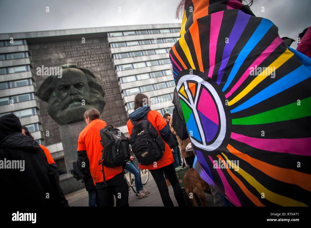 Orange Block Anti racism and Anti fascism march in Chemnitz, Saxony, Germany. - Stock Image