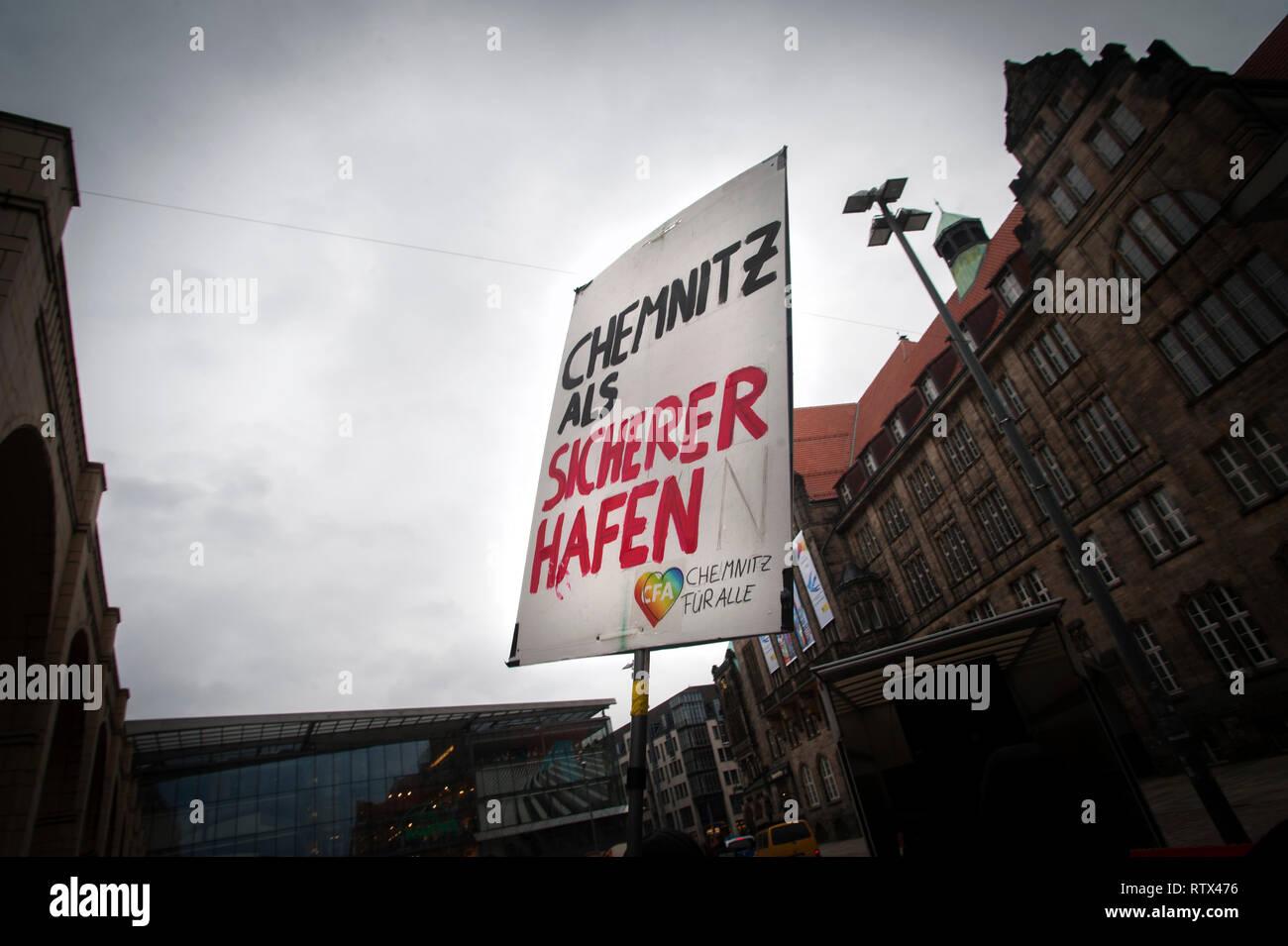 Orange Block Anti racism and Anti fascism march in Chemnitz, Saxony, Germany. Stock Photo