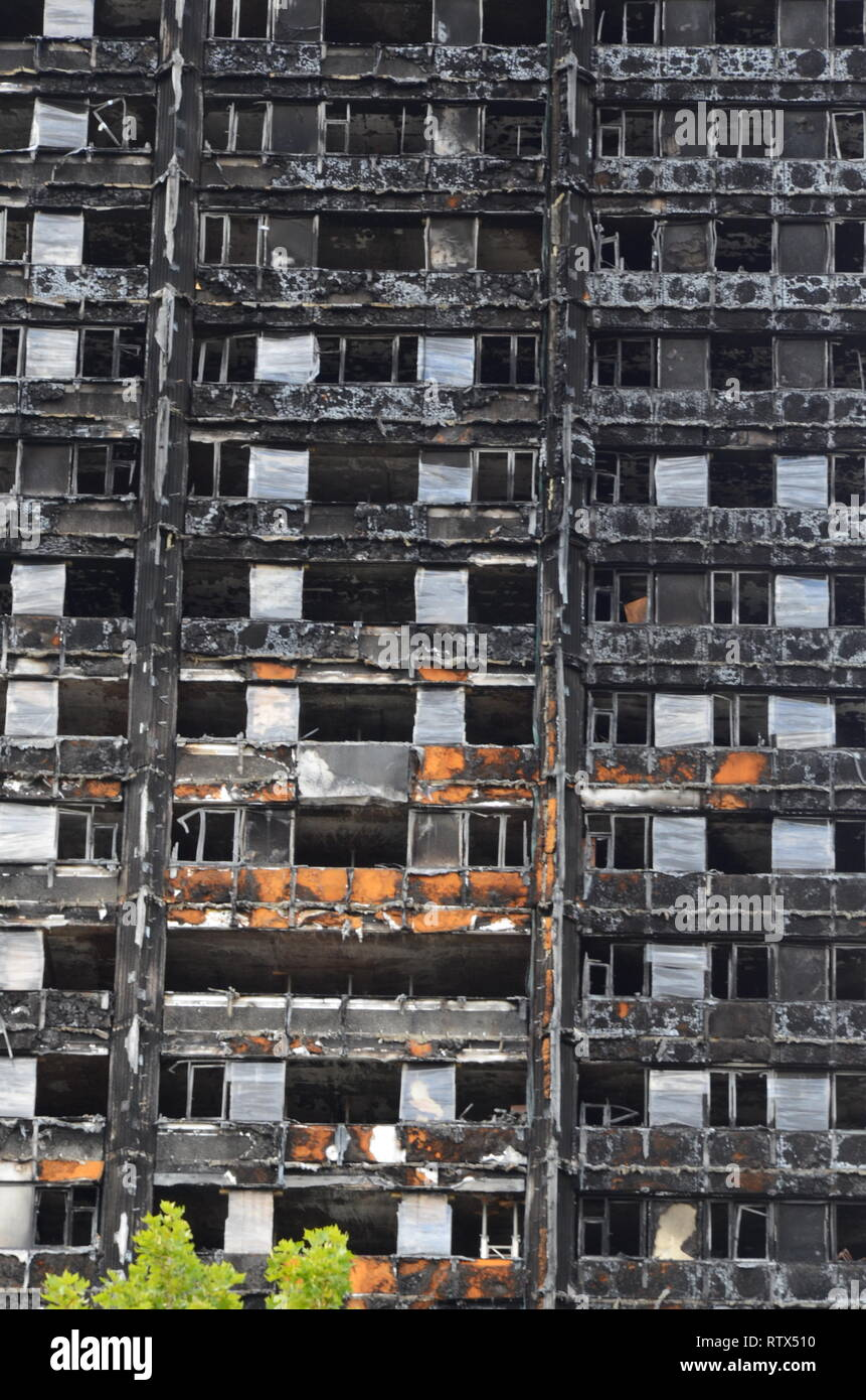 Grenfell tower fire, London, disaster zone Stock Photo